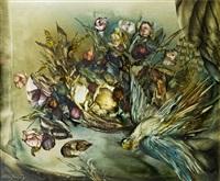 stilleben mit blumenkorb und vogel by wladimir bugrin