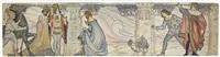 allegorien der monate märz, april, september, oktober, historisierende szenen (design) (11 works) by gottlieb theodor von hartenkampf kempf