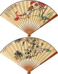 秋声秋色 山禽着意 (in autumn) (recto-verso) by xu shaojiu