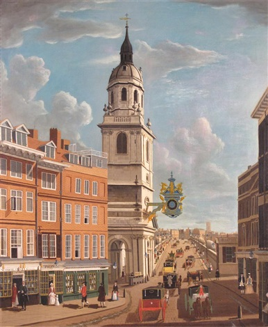 old london bridge seen from fish street hill with the church of st. magnus the martyr the tower of lambeth cathedral beyond, on the south side of the thames by samuel scott