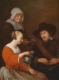 interieur mit einer jungen frau, die ihr glas füllt, dahinter ein soldat und eine dienstmagd by gesina ter borch