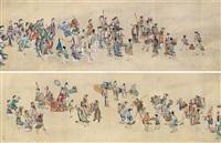 人物 手卷 绢本 by ding yunpeng