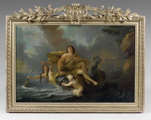 arion jouant de la lyre porté par un dauphin by noël nicolas coypel