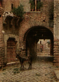 waiting mule in courtyard by scipione simoni