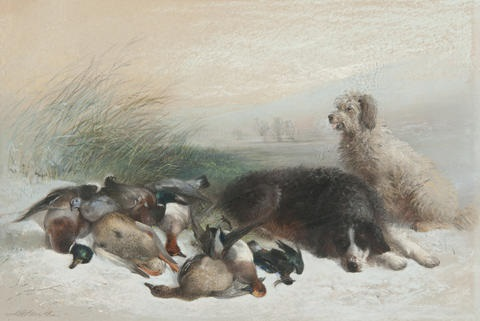 dogs waiting besides the days bag by edward robert smythe