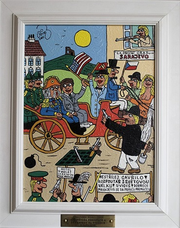 archduke ferdinand and jf kennedy on ride in sarajevo by frantisek ringo cech