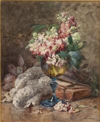 nature morte aux fleurs et aux livres by françois rivoire