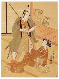 ichikawa danjuro iv dans le rôle du samurai hiraoka hiemon (aiban) by ippitsusai buncho