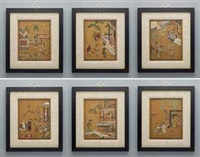 embellished panels (set of 6) by anonymous-chinese (qing dynasty)