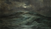 maanlicht over een woeste zee by joseph schippers