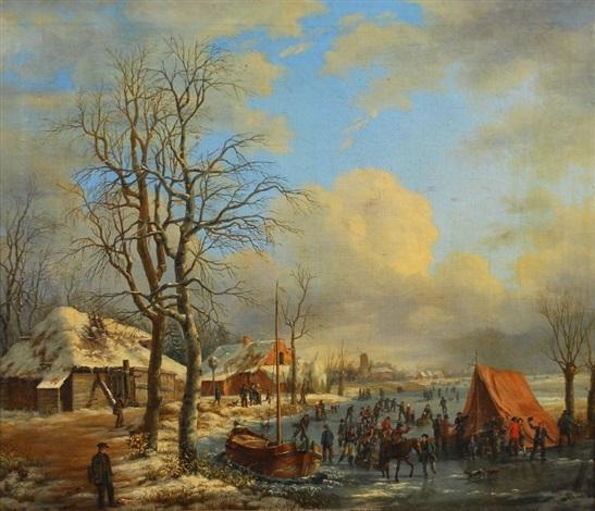 paysage d´hiver avec patineurs by albert eduard moerman