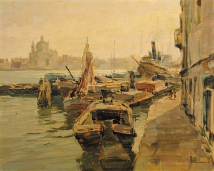 veduta di venezia con s giorgio sullo sfondo by angelo brombo