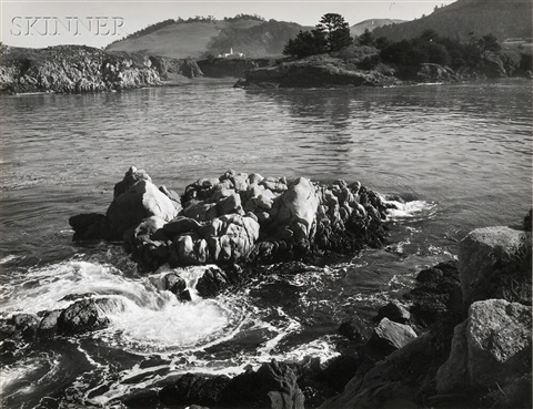 rocks and swirling water by ansel adams