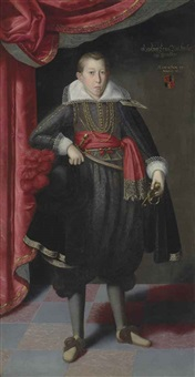 portrait of freiherr ernst löbl of greinburg, full-length, aged 15, in a gold embroidered black costume and black cape, holding a hat with red ostrich feathers, before a curtain by lucas van valkenborch