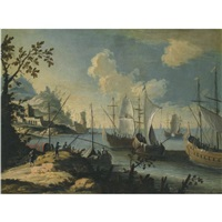 a mediterranean coastal scene with ships at anchor and figures on a path to the left by johann anton eismann
