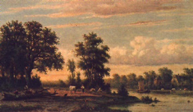 a tranquil river landscape by johannes jacobus jan heppener