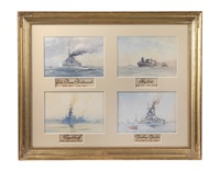 images of ships (8 works in 2 frames) by august von ramberg