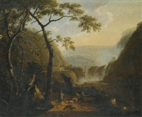 a landscape with hunters near a waterfall by barend appelman