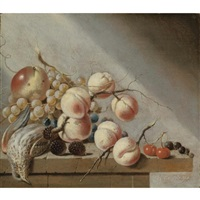 still life of peaches, an apple, grapes, blackberries, cherries and blackcurrants, together with a bird, all on a stone ledge by harmen van steenwyck