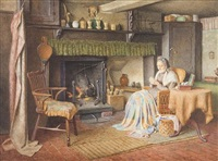 old woman sewing by the fireside; old man reading the newspaper by the fireside by henry edward spernon tozer