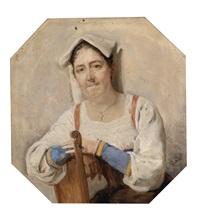 bildnis einer italienerin (laut familientradition gisela, um 1890, frau des künstlers) by carl probst