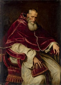 portrait of alessandro farnese, pope paul iii, seated, in a papal robes by scipione pulzone