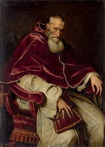 portrait of alessandro farnese pope paul iii seated in a papal robes by scipione pulzone