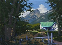 blue/green roof with mountain by william hook