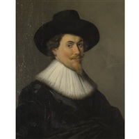 portrait of a man in black by frans hals (unattributable)