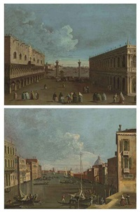 a view of the piazzetta, venice with the ducal palace and the library (+ a view of the canal grande, venice, looking east with ca corner cella...; pair) by francesco tironi