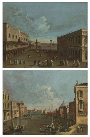 a view of the piazzetta venice with the ducal palace and the library a view of the canal grande venice looking east with ca corner cella pair by francesco tironi