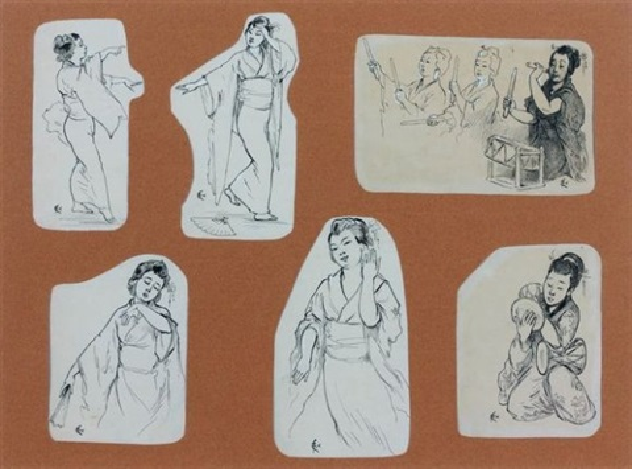 un montage comprenant six vignettes sur le japon album w57 drawings and 3 lithographs smllr 61 works by felix regamey