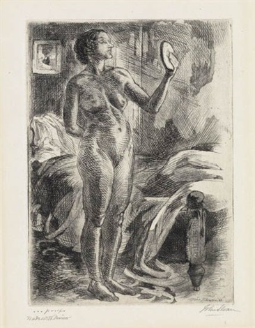 nude with mirror (+ nude with furniture, 1931, smllr; 2 works) by john french sloan