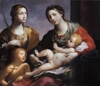 madonna con il bambino, san giovannino e santa barbara by francesco giovanni gessi