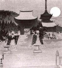 bildnis des kiyomizu-tempels in kyoto bei vollmond by tomikichiro tokuriki
