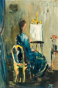 seated lady in front of painting by joseph kossonogi