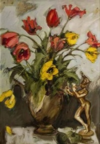 still life with flowers, fruit and a figure by aileen lipkin