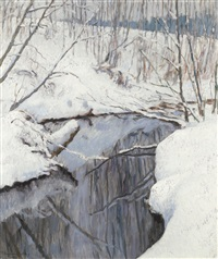 stream in winter by nikolai petrovich bogdanov-bel'sky
