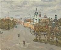 moscow road scene by piotr evgeni fedorovich groshev