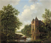 a river landscape with anglers in a rowing boat by a ruined mansion by frans arnold breuhaus de groot