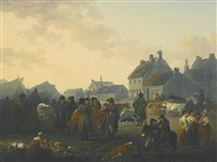 market day, masham, north yorkshire by julius caesar ibbetson