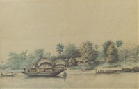 a river scene in india with boats and native huts, bengal by hubert cornish