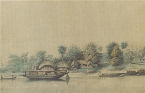 a river scene in india with boats and native huts bengal by hubert cornish