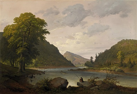 sommerabend am fluss by karl friedrich lessing