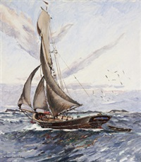 segelskuta till havs by rikard lindström