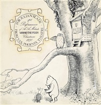 pooh and piglet outside owl's house by ernest h. shepard