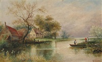 cottages along a river by edwin steele