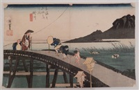 oban yoko-e, série de la grande tokaido, station 27, vue du mont akiba depuis kakegawa by ando hiroshige