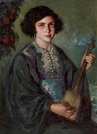 jeune marocaine au guembri (serenidad) by josé cruz herrera