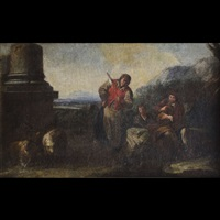 figure di pastori con rovine by karel dujardin